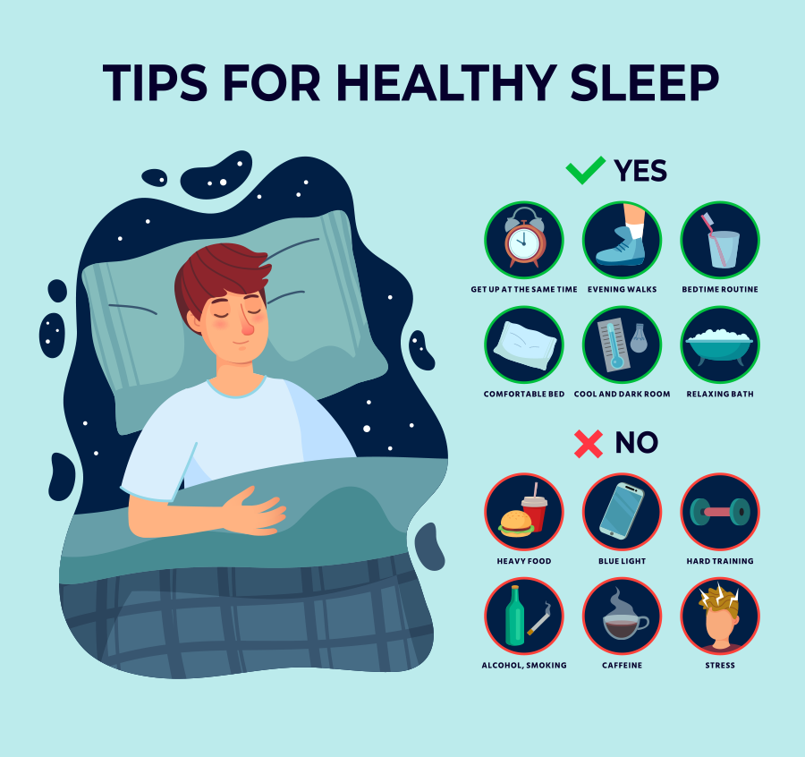 Tips for healthy sleep infographic
